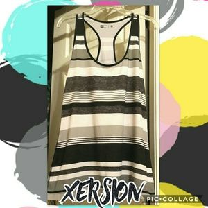 Monochromatic Grey-scale Striped Racerback Tank